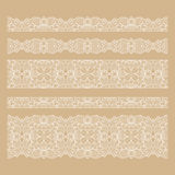 Set of seamless lace borders with transparent Royalty Free Stock Image