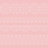 Set of seamless lace white ribbons on a pink background. Styling weave crochet. Royalty Free Stock Photography