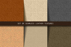 Set of seamless leather textures Royalty Free Stock Images