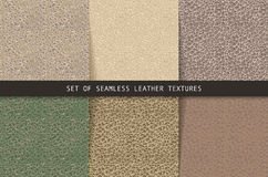 Set of seamless leather textures. Royalty Free Stock Photo
