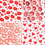 Set of seamless love patterns. Royalty Free Stock Photos