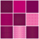 Set of seamless magenta patterns. Abstract texture. Vector illustration Stock Photography