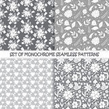 Set of seamless monochrome vector floral patterns. Royalty Free Stock Photography