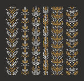 Set of seamless monoline floral ornaments Royalty Free Stock Image