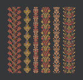 Set of seamless monoline floral ornaments Royalty Free Stock Images