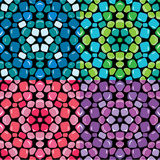 Set of seamless mosaic patterns - Blue, green, pink and purple c Royalty Free Stock Image