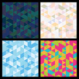 Set of seamless mosaic triangle pattern. Vector geometric backgr Stock Image