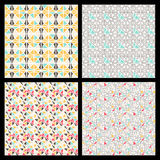 Set of seamless mosaic triangle pattern. Vector geometric backgr Stock Photography