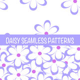 Set of seamless naive minimalistic patterns with little flowers. Royalty Free Stock Photo