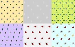 Set of seamless nature patterns with flowers, leaves and ladybirds, vector illustration stock illustration