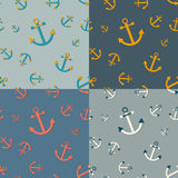 Set of 4 seamless  nautical  patterns with anchors Stock Photo