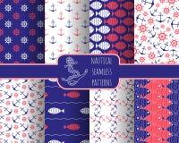 Set of 8 seamless nautical patterns Royalty Free Stock Photos