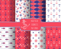 Set of 8 seamless nautical patterns Royalty Free Stock Photography