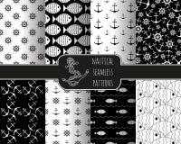 Set of 8 seamless nautical patterns Stock Photo