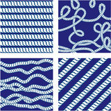 Set of Seamless nautical patterns on background Stock Images