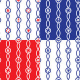 Set of Seamless nautical patterns on blue, red, white background Royalty Free Stock Images