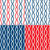 Set of Seamless nautical patterns on blue, red, white background vector illustration
