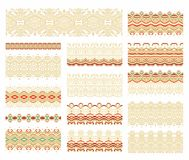 Set of seamless ornamental  ribbons  arabic style Royalty Free Stock Photography