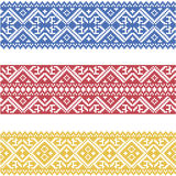 Set of seamless ornamented borders based on ukrainian embroidery Royalty Free Stock Image