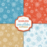 Set of seamless outlined snowflakes patterns. Royalty Free Stock Photos