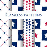 Set of seamless patriotic pattern with blue stars Stock Photography