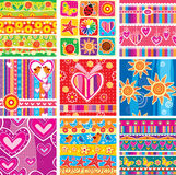 Set of seamless pattern. Set of childrens seamless pattern Royalty Free Stock Image