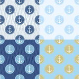 Set of Seamless pattern with anchor, ship steering, waves. Collection of sea background, illustration of ocean marine Stock Images