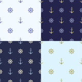 Set of Seamless pattern with anchor, ship steering, waves. Collection of sea background, illustration of ocean marine Stock Image