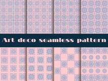 Set seamless pattern in art deco style.  Rose quartz and serenity violet colors. Stock Photos