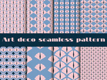Set seamless pattern in art deco style.  Rose quartz and serenity violet colors. Royalty Free Stock Image