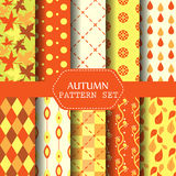 Set of seamless pattern, autumn season concept Royalty Free Stock Photos