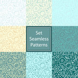 Set Seamless pattern or background with abstract protozoa Royalty Free Stock Images