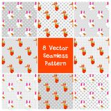 Set 8  seamless pattern. Set 8  background seamless with fox and rabbit Royalty Free Stock Photos