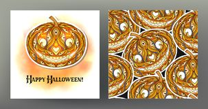 Set of Seamless pattern, background with Halloween pumpkin head. With pattern and Jack`o lantern Happy Halloween card.  Stock line vector illustration.rr Royalty Free Stock Photos