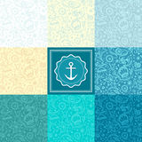 Set Seamless pattern or background with marine world Royalty Free Stock Images