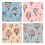 Set of  seamless pattern with balloons in pastel colors. Many differently colored striped air balloons flying in the clouded. Sky. Clouds and birds soaring in stock illustration