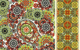 Set of seamless pattern based on traditional Asian elements Paisley and striped. Vector colorful background Royalty Free Stock Image