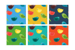 Set of Seamless Pattern with Birds. Royalty Free Stock Photography