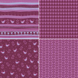 Set Seamless pattern with birds and heart Stock Photography