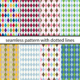 Set seamless pattern with black dotted lines Royalty Free Stock Photos