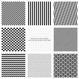 Set of seamless pattern, black and white Royalty Free Stock Images