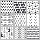 Set of seamless pattern black and white in Scandinavian style stock illustration