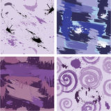 Set of seamless pattern with blots and ink splashes. Royalty Free Stock Photos