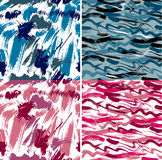 Set of seamless pattern with blots and ink splashes. Stock Photos