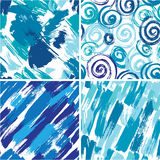 Set of seamless pattern with blots and ink splashes. In blue colors. Abstract background for design in grunge style. Ready to use as swatch vector illustration