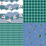 Set seamless pattern for boy Royalty Free Stock Photo