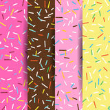 Set of seamless pattern bright tasty vector donuts and sprinkles background in cartoon style for menu in cafe and shop. Set of seamless pattern bright tasty Stock Image