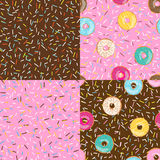 Set of seamless pattern bright tasty vector donuts and sprinkles background in cartoon style for menu in cafe and shop. Stock Photography