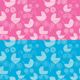 Set of seamless pattern with buggy on pink and blue background. Royalty Free Stock Image