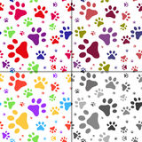 Set of seamless pattern with cats footprints Stock Images